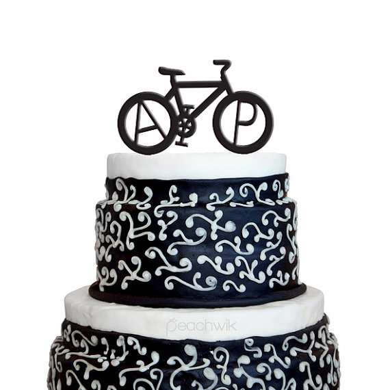 wedding cake topper monogram personalized wedding cake topper bicycle monogram 8807