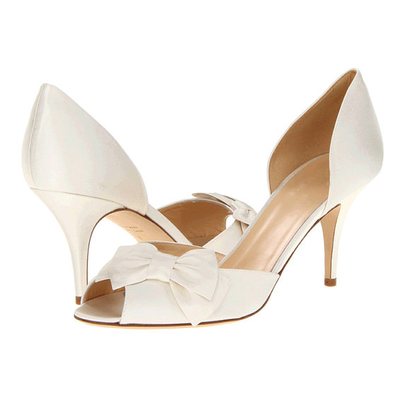 White D Orsay Bow Wedding Shoes Silk Satin Party Prom P Open Toe Clips Pumps Pointed Mid Heels