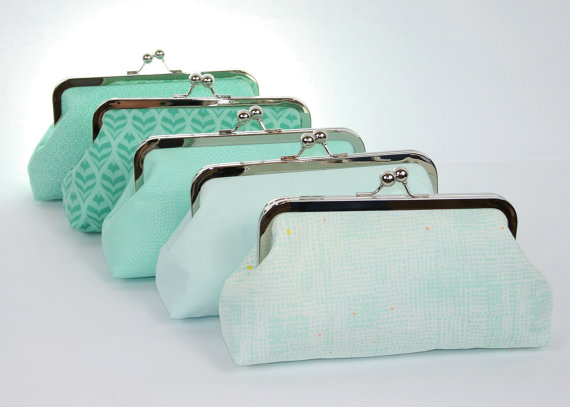 Mint Wedding Bridal Clutch Bridesmaids Gift Idea Personalized Beach