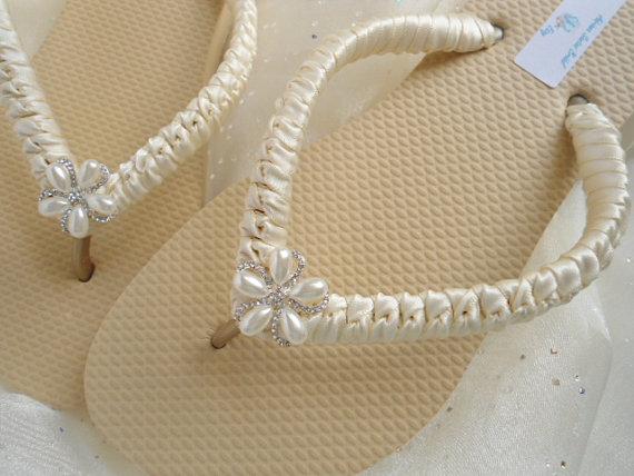Ivory Bridal Flip Flops Sandals Wedding Beach Shoes