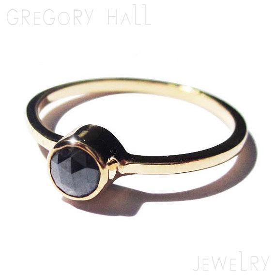 Black Diamond Ring 14k Yellow Engagement Rings Womens Jewellery