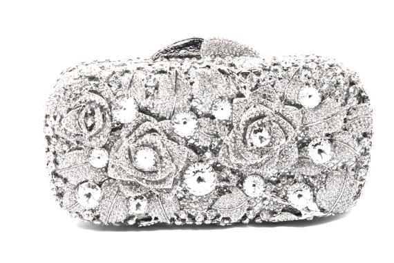 Crystal Bridal Clutch Silver Minaure Evening Bag Wedding Purse