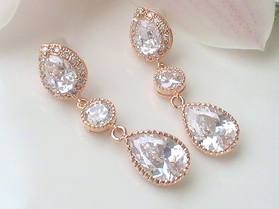 Crystal Bridal Earrings Rose Gold Cubic Zirconia Unique Bridesmaid Gift Jewelry Long Wedding Dangle Drop