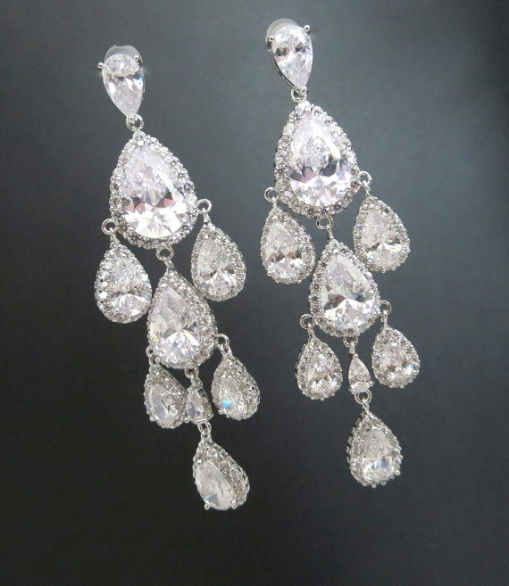 Crystal Wedding Earrings Bridal Chandelier Teardrop Jewelry Bridesmaid