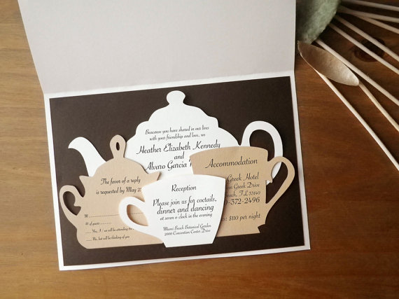 Wedding Invitations Set Tea Time Themed Ceremony English Style Party Pot Cutout Sbook Papercut By Naboko