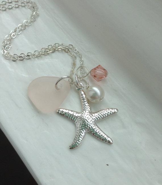 Pink Sea Gl Necklace Beach Wedding Jewelry Starfish