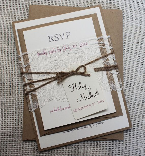 Rustic Wedding Invitation Lace Shabby Chic Stationary Custom