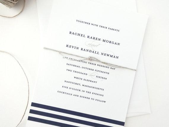 Rachel Nautical Wedding Invitation Sample Striped Invitations Navy Invite Blue