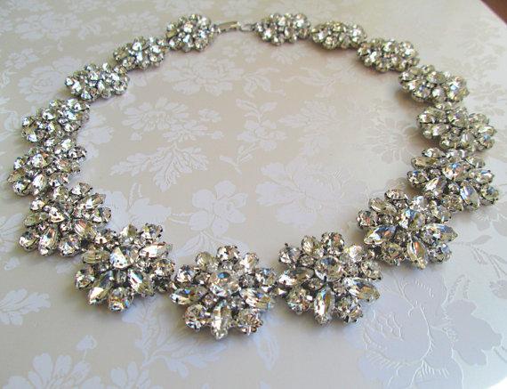 Wedding Statement Necklace Bridal Jewelry Chunky Rhinestone Crystal Silver