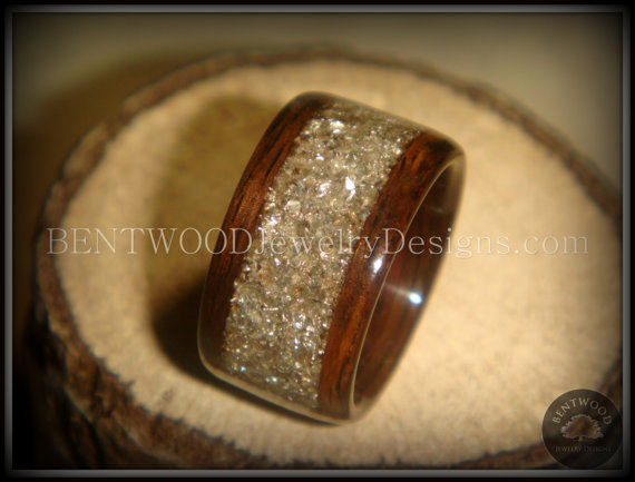 Bentwood Ring Rosewood Wood Silver Gl Inlay Durable And Beautiful Wooden Engagement Wedding Or Gift