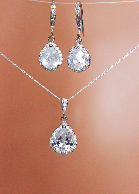 Cubic Zirconia Crystal Drop Wedding Earrings And Necklace Set Bridal Jewelry Bridesmaids Mother Of The Bride Accessories