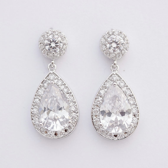 Crystal Bridal Earrings Wedding Jewelry Posts Large Cubic Zirconia Teardrop