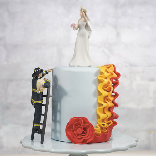 Fireman Wedding Cake Topper Groom And Rescued Bride To The Rescue Personalized