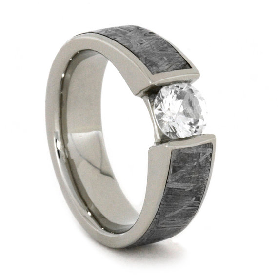 meteorite wedding ring white sapphire gold ring inlaid w meteorite 14k white 5848