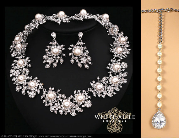 Pearl Wedding Jewelry Set Vintage Inspired Bridal Bracelet Earrings Statement Necklace