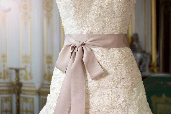 Bridal Sash Luxe Grosgrain Ribbon Wedding Sashes Soft Taupe Belt