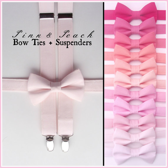 Pink Bow Tie And Suspenders Boys Toddler Baby Braces Blush Suspender Set Peach Fuchsia Wedding Ring Bearer