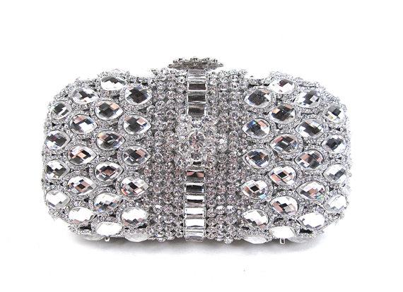 Crystal Bridal Clutch Minaure Silver Evening Bag Wedding Purse