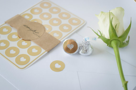 24 Envelope Seals In Gold Foil Handmade Heart Stickers Wedding