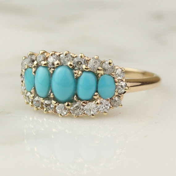 Victorian 14k Rose Gold Turquoise And 5 Stone Diamond Engagement