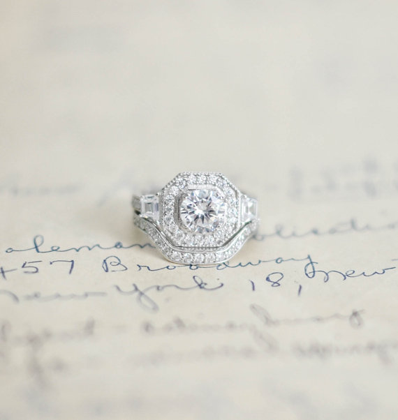 Silver Art Deco Ring Sterling Cz Wedding Set Cubic Zirconia Vintage Style Engagement Halo