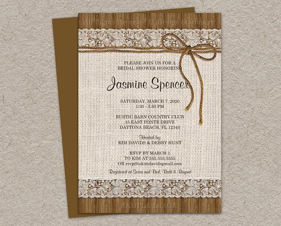 Rustic Bridal Shower Invitation Burlap Invitations And Lace Printable Diy Wedding Invite