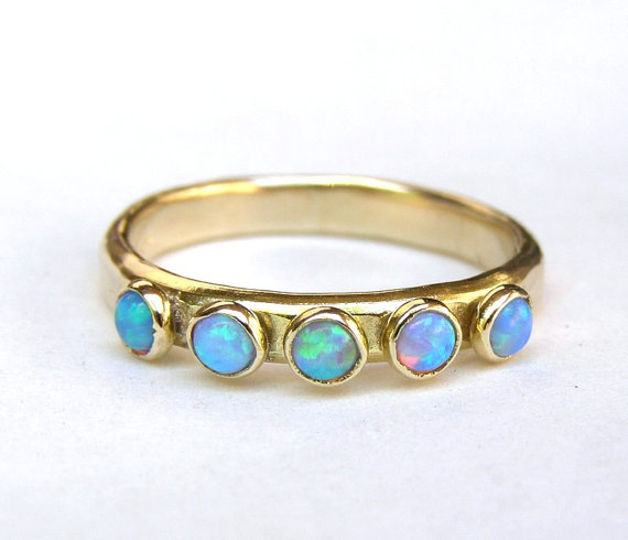 Blue Opal Ring Fine Jewelry Stacking Ring Fine 14k Gold Ring