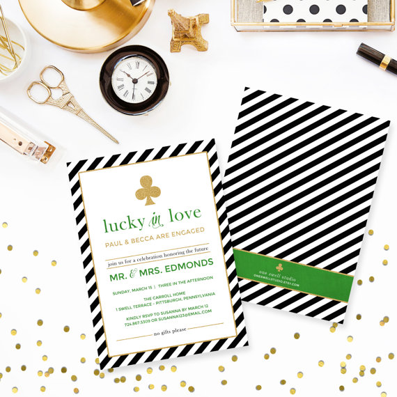 Kate Spade Inspired Lucky In Love Printable Engagement Party Bridal Baby Shower Invitation 5x7 Custom Text Your Choice Of Color