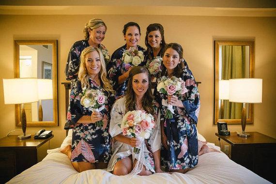 Set Of 6 Bridesmaid Robes Silk Robe Bridesmaids Gift Satin Bridal Party Getting Ready Kimono Personalized