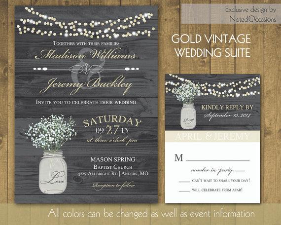 Rustic Wedding Invitations In Gold With Mason Jar