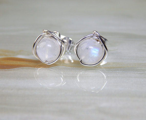 Favorite SALE Rainbow Moonstone Stud Earrings, Small Moonstone Post  HY16