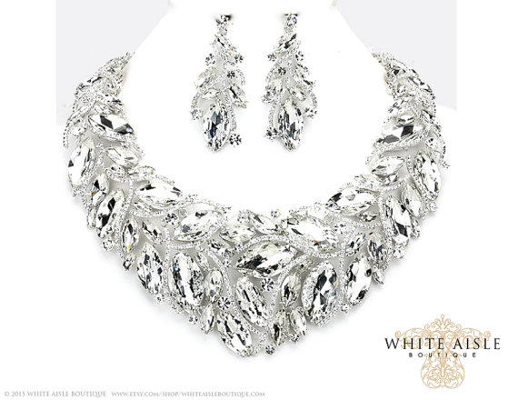 Crystal Bridal Jewelry Set Statement Necklace Back Drop Vintage Style Wedding Earrings Chunky