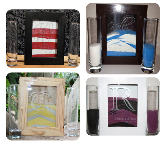 Custom Order For Amanda H Wedding Unity Sand Shadow Box Set W 2 Side Vases 5lbs Of