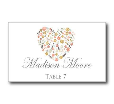 Printable Wedding Place Cards Fl Heart Rustic Vintage Instant Microsoft Word