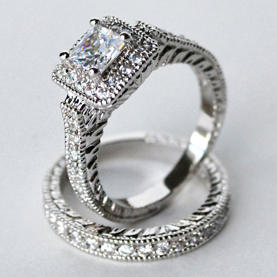 Cz Ring Wedding Engagement Set Halo Cubic Zirconia Size 5 6 7 8 9 10 Mc1083001az