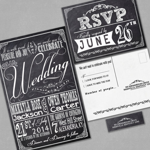 Chalkboard Wedding Invitations Rsvp Cards And Address Labels Retro Typography Sample Set Black Friday