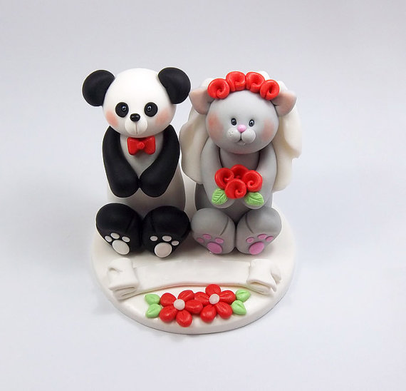 wedding cake toppers personalized figurines custom wedding cake topper panda and grey cat 26575