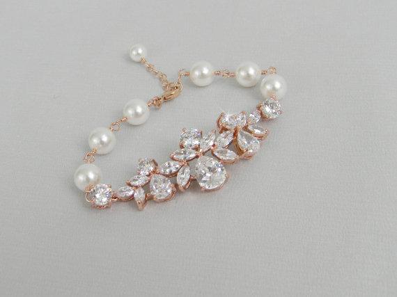 Rose Gold Bridal Bracelet Crystal Wedding Pearl Jewelry Swarovski Claire