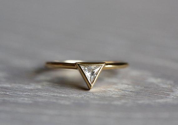 0 2 Carat Trillion Diamond Ring Engagement Triangle 14k Solid Gold