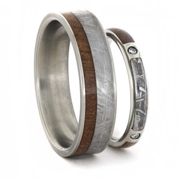 Wedding Ring Set Diamond Engagement And Band With Meteorite Wood Inlays Personalized Custom Made His Her Rings