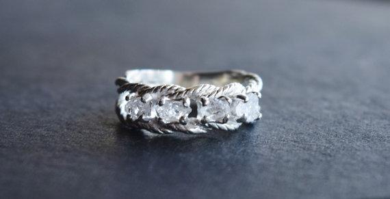 Diamond Engagement Ring Raw Size 4 Wedding Band Rough Art Deco Avello