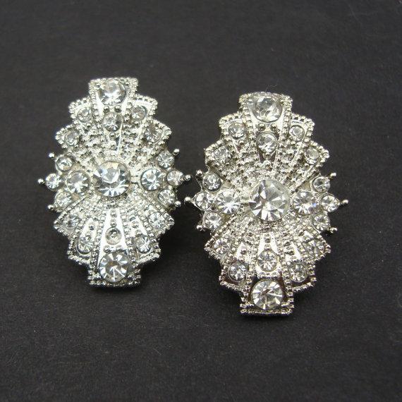 Art Deco Style Bridal Wedding Earrings Vintage Rhinestone Stud Antique Silver Jewelry Rita