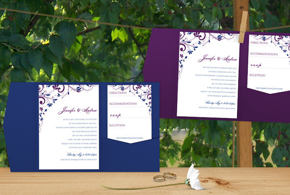 Pocket Wedding Invitation Template Set Instantly Editable Text Chic Bouquet Purple Royal Blue Microsoft Word Format