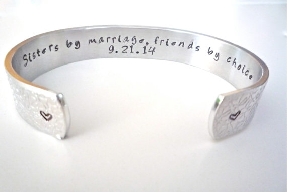 Sister In Law Present Bridesmaid Gift Customize Your Message Personalized Bracelet By Thesilverswing