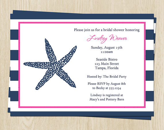 Nautical Wedding Shower Invitations Free Shipping Starfish Bridal Invites Navy Pink Nasnp Set Of 10 Printed With Envelopes