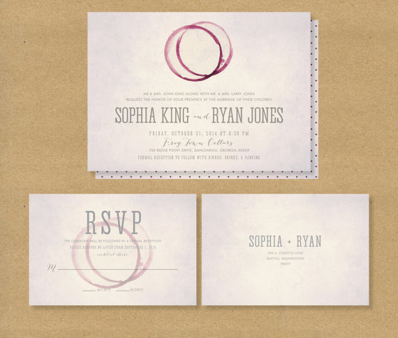 Winery Wedding Invitation Printable And Rsvp Card Wine Stain Invite
