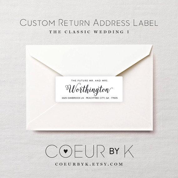 Custom Wedding Return Address Label The Clic I Calligraphy Stickers