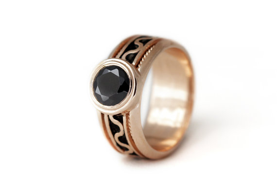 14k Rose Gold And Black Stone Engagement Ring Promise Ring Black