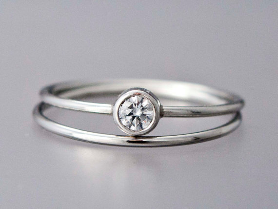 Diamond Platinum Engagement Ring And Wedding Band Set 3 4mm With A Delicate 1mm Round
