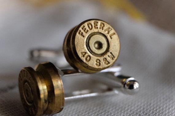 Bullet Cuff Links 40 Cal S W Glock Auto Pistol Groomsmen Gift Groom Camo Wedding Police Cop Caliber Cufflinks Country